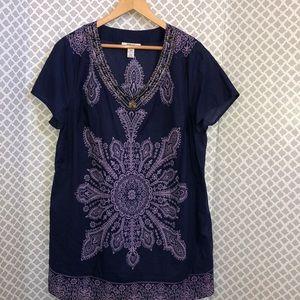 Style & co. Navy lilac Kaftan beaded cotton dress